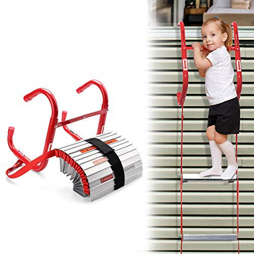 DELXO Fire Escape Ladder 2 Story Portable Emergency Escape Ladder All New AntiSlip Step Easy to Deploy amp Easy to Store 13 Feet Portable Fire Escape Ladder