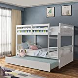 Giantex Bunk Bed with Trundle, Full Over Full Bunk Beds with Ladder, Solid Wood Trundle Bed with Rails, Safety High Guardrails, Convertible Bunk Bed for Kids, Teens (White)