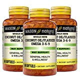 Mason Natural Omega 3-6-9 from Vegetable Source, Coconut Oil/Flax Seed, 60 Softgels, 3 Count