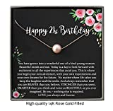 21st Birthday Gift, 14K Rose Gold Filled Blush Pearl Necklace with meaningful message