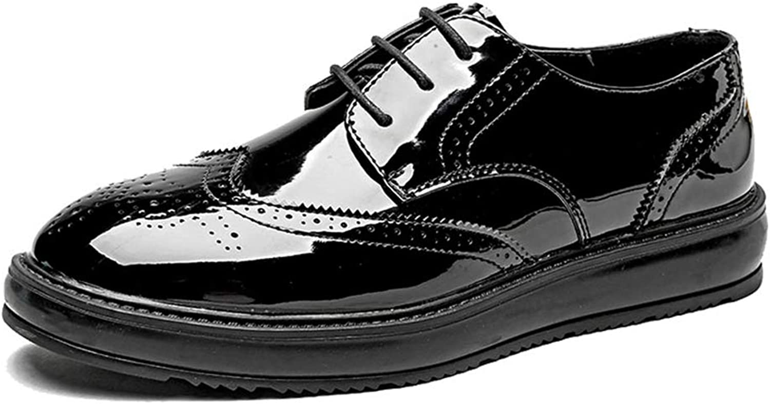 SRY-shoes Men's Simple Fashion Oxford Casual Classic Carvings Breathe British Style Outsole Brogue shoes(Patent Leather Optional)