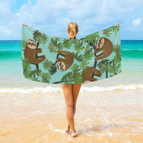 Einst Strandtücher Faultier auf Dschungel, großes Mikrofaser-Handtuch – 188 cm x 94 cm, schnell trocknend, leicht, perfekt für Strand, Reisen, Yoga, Sport, Schwimmen