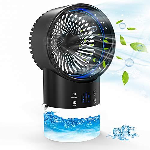 Aire Acondicionado Portátil - Mini Enfriador de Aire, Ventilador Aire Acondicionado con Temporizador 2 / 4H para Oficina/Hogar (Negro)