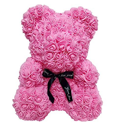 CerisiaAnn Oso romántico de rosas artificiales, regalo para San Valentín, cumpleaños, bodas y aniversarios, color rojo vino (rosa)
