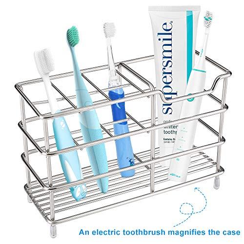 IampHE Premium Bathroom Toothbrush Holder  7 Slots Stainless Steel Bathroom Toothbrush Organizer  MultiFunction StandStorage Rack for Electric Toothbrush Toothbrush Toothpaste Cleanser Razor