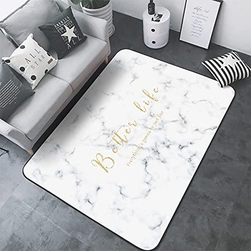 ZYUN Alfombras de Palabras Doradas de mármol Blanco Suave Antideslizante Interior al Aire Libre Sala de Estar Dormitorio habitación de niños decoración Moderna del hogar