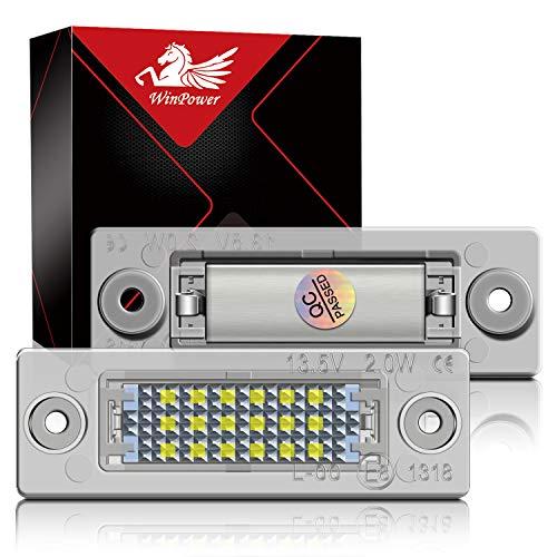 WinPower LED Éclairage plaque immatriculation auto ampoules super brillant CanBus Pas d'erreur 6000K xénon blanc froid 18 SMD Feux arrière pour Caddy/Golf/Jetta/Syncro/Passat/Touran ect, 2 Pièces