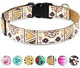 Taglory Collier Chien Reglable, Motif Tendance Collier Dressage Chien, Style Brun Ethnique pour Moyenne Chiens