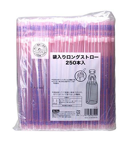 ストリックスデザイン 袋入り ロング ストロー ピンク 口径6mm 長さ25cm 個包装 切り口付き 500mlペットボトル対応 F-591 250本入