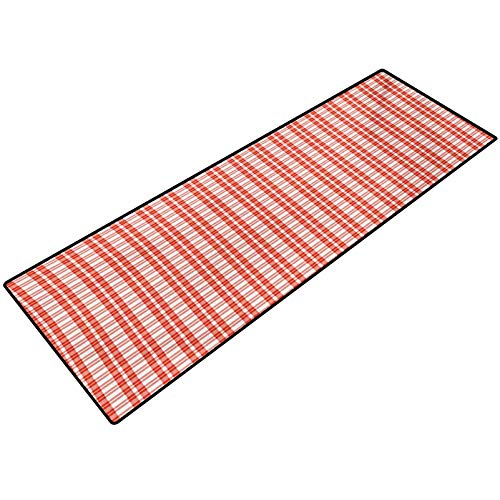 Plaid Tablecloth Floor Rugs Colored and Checkered Country Picnic Pattern Repeating Squares Stripes Modern Low-Profile Rug Mats for Entry, Patio, High Traffic Areas 18x30 Inch Orange and White