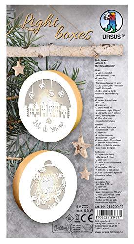 URSUS 21490002 - Light Boxes Village and Christmas Bauble, Material für 2 beleuchtete, weihnachtliche Fensterbilder, filigrane Motive gelasert, Durchmesser je ca. 11 cm, inklusive LED Licht