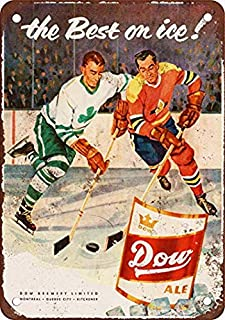 Houseuse 1957 Dow Ale and Hockey Vintage Look Reproduction Metal Tin Sign 8X12 Inches