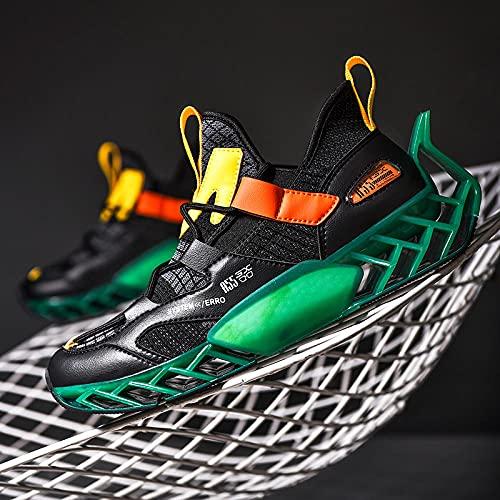 BAIDEFENG Calzado de Entrenamiento Fitness,Zapatillas de Correr Finas y Bajas, Zapatillas de Deporte Transpirables de Suela Blanda-Verde_41