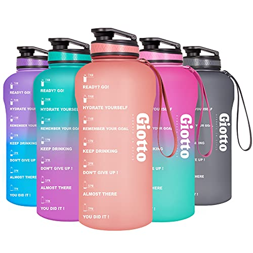 Giotto Large Half Gallon/64oz Motivational Water Bottle with Time Marker & Removable Strainer, Leakproof BPA Free Water Jug to Remind You Drink More Water and Hydrate in Style