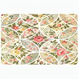 Ahawoso Bath Rug for Bathroom Non Slip Mats 16x24 Inches Backdrop Pattern Blossom Yellow Square Roses Abstract...