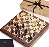 Jaques of London - Chess set 15 Inch Walnut and Sycamore Inlaid Chess Board Complete with 3 inch Chess Pieces...