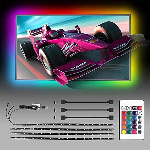 Aigostar - Tira LED TV RGB con Control Remoto, 2M 12V Habitacion Tira de Luces IP65 Impermeable, con Carga USB, para TV, Monitores de PC
