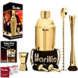 Gold Cocktail Shaker Set Bartender Kit by BARILLIO: 24 oz Stainless Steel Martini Mixer, Muddler,...
