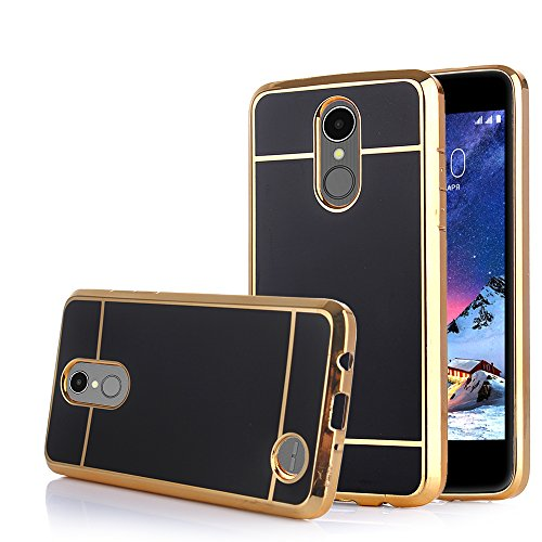 TabPow LG Aristo Case, Electroplate Slim Glossy Finish, Drop Protection, Shiny Luxury Case for LG Phoenix 3 / LG K8 2017 / LG Fortune/LG Risio 2 - Black Gold