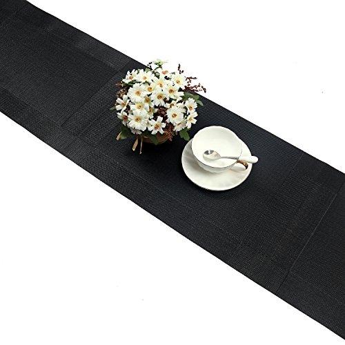 U'Artlines Chemin de Table tressé en Vinyle antidérapant Isolation Thermique Lavable 30x180cm(Chemin de Table Noir)
