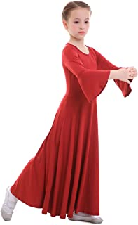 348f9f297 IWEMEK Niñas Vestido adoración Danza Vestido de Alabanza Iglesia Litúrgico  Disfraces de Baile para Chicas Manga