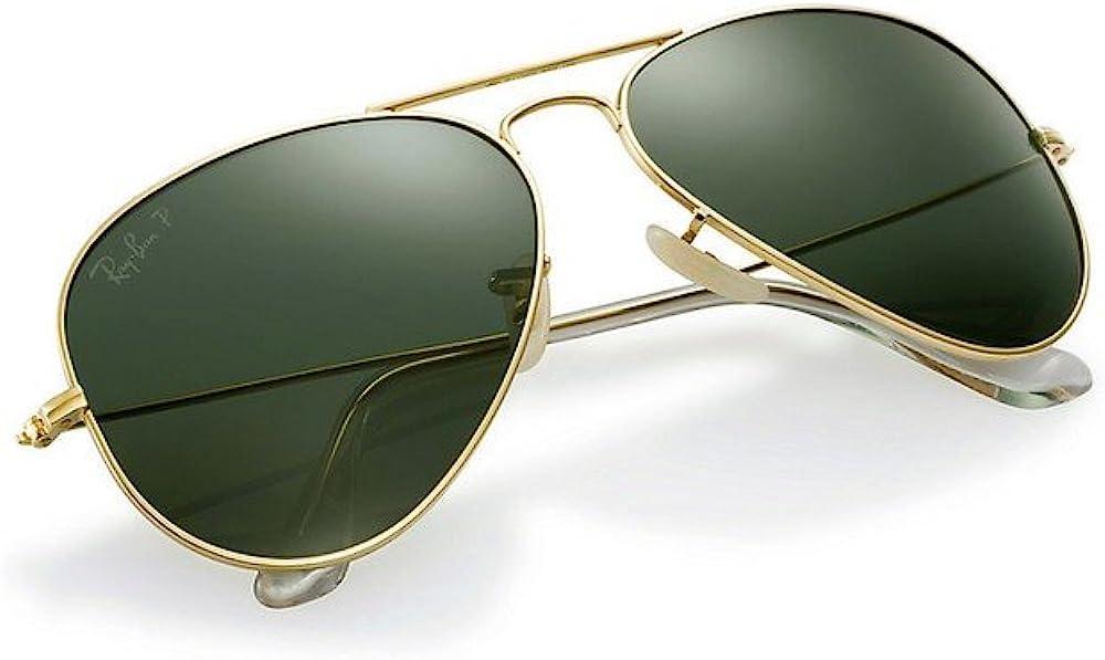 Ray-ban aviator solid gold ,occhiali da sole per uomo,in oro puro 18 carati, arricchito con lenti g15, neophan 3025k