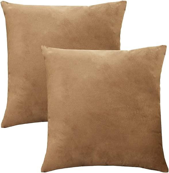 BUZZYFUZZY 2 Pcs Velvet Soft Soild Decorative Square Throw Pillow Covers Set Cushion Cases Pillowcases For Sofa Bedroom Car 18 X 18 Inch Camel