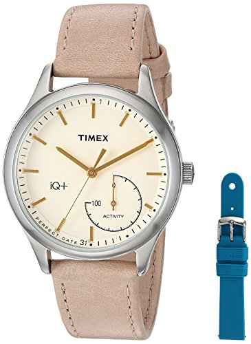 Timex Women's TWG013500 IQ+ Move Activity Tracker Tan Leather Strap Smartwatch Set With Extra Teal Silicone Strap