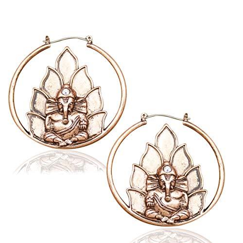 RechicGu Vintage Gold Ganesha Ganesh Elephant OM Hindu Lotus Hoop Earrings Retro Buddhism Yoga