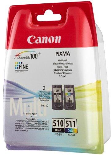 Canon PG-510/CL-511–Cartuccia di inchiostro per stampanti (Nero, Ciano, Magenta, Giallo, Canon Pixma IP2700, Pixma MP272, 10–70%, 10–35°C, 15–35°C, 10–70%)