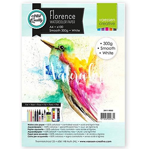 Vaessen Creative, Bianco, Florence Carta per Acquerello Pressata a Caldo A4, 300 g/mq, Qualità Belle Arti, Grana Satinata, 100 Fogli per Pittura, Handlettering, Progetti Artistici e Altro Ancora
