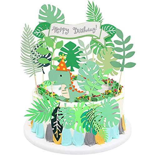 Sunshine smile 43pcs Dinosaurier Kuchen Topper,Tier Cake Topper,Geburtstag Tortendeko,Kuchendeko,Muffin Deko,Geburtstagsdeko,Geburtstagspartys Dschungel Girlande für Kinder Junge Mädchen (Grün)