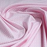 Stoff Baumwolle Punkte ganz klein rosa weiß Tupfen