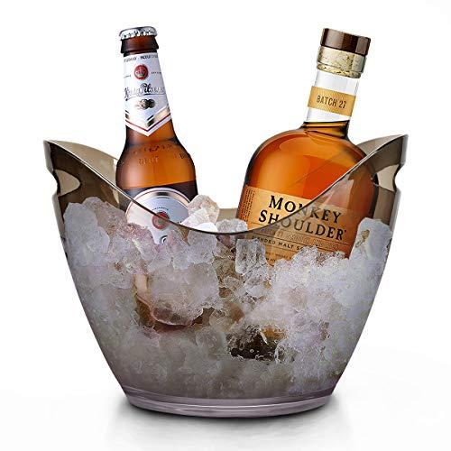 RERXN 4L Portaghiaccio Secchiello per Il Ghiaccio Secchio di Ghiaccio Secchiello ghiacci Secchiello per Champagne (nero trasparente)