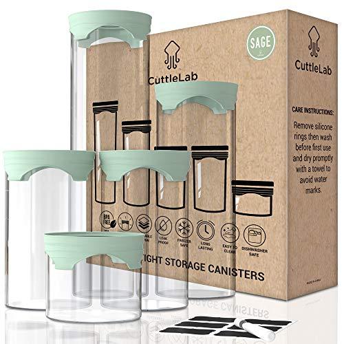 Luftdichte Glasdosen Sets für die Küche, Glasdosen zur Aufbewahrung von Lebensmitteln mit Deckel, Vorratsdosen aus Glas, Küchengläser als Mehlglas, Kaffeedose, Keksdosen, Mehl- und Zuckerbehälter