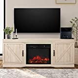 Fireplace TV Stand with Barn Door ,Wood Media Entertainment Console for Living Room (White Oak)