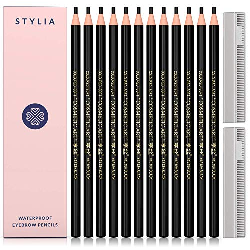 eye brow pencils Waterproof Eyebrow Pencils Peel Off - 12 Piece Black Brow Pencil Set For Marking, Filling And Outlining, Tattoo Makeup And Microblading Supplies Kit-Permanent Eye Brow Liners