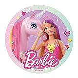 Dekora - Decoracion Tartas de Cumpleaños Infantiles en Disco de Oblea Comestible de Barbie - Licencia Oficial - Sin Gluten, Sin Azúcar, Sin Lactosa, Apto para Vegetarianos - 20 cm de Diámetro