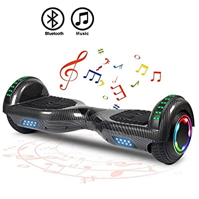 """FLYING-ANT Hoverboard Self Balancing Scooters 6.5"""" Flash Two-Wheel Self Balancing Hoverboard with Bluetooth Speaker and LED Lights for Kids and Adults Gift(Carbon Black)"""