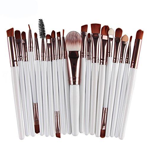FBGood Pinceaux de Maquillage 20 pièces Premium Synthetic Foundation Brush Powder Blending Blush Concealer Eye Face Liquid Powder Cream Cosmetics Brushes Kit