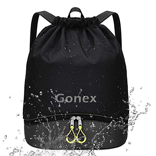 Gonex Mochila de Cuerdas Unisex con Bolsas Zapatos Impermeable para Gimnasio Deporte