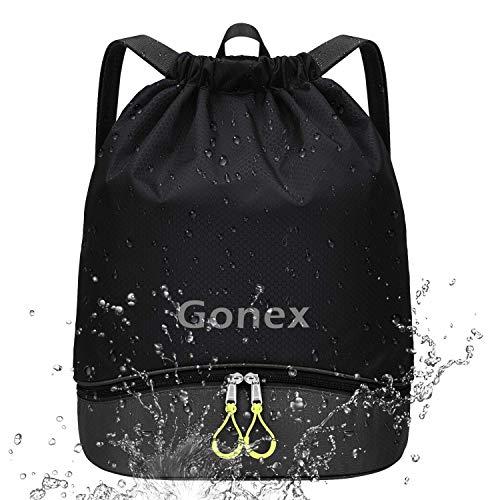 Gonex Mochila de Cuerdas Unisex con Bolsas Zapatos Impermeable para Gimnasio Deporte Yoga Senderismo Bicicleta Natación Viajes, Saco de Cordón Seco Húmedo Separado para Hombre Mujer Niños, Negro