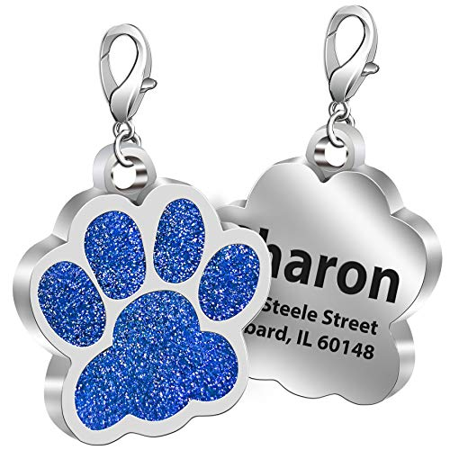 TedYoho Custom Pet ID Tag Glitter Paw Personalized Laser Engraving Name on Stainless Steel Pink Rosy Blue Gold Gift for Small Medium Large Dogs Cats (Blue)