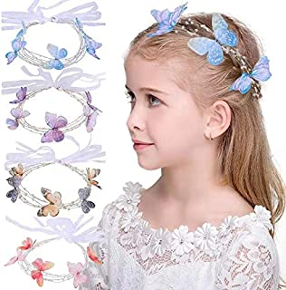 Butterfly Headband for Girls – Beaded Hair Vine, Bridal Head Piece, Best for School girls Costume – Butterfly Hair Accessories (blue)