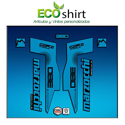 Ecoshirt IS-6O3C-0FXE Aufkleber Fork Marzocchi 380 C2Rc Titanium Am70 Sticker Decals Sticker Gabel Gabel Blau