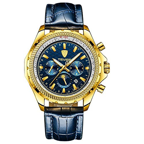 Smartwatches,Mode Herren Lederband Mondkalender Uhr Golden Shell Blue Face Blau Gürtel