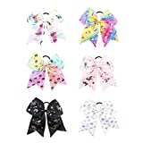 7'' Large Unicorn Cheer Bows Girls Hair Bows With Elastic Band For Teen Girls (6pcs-Cheer Bows)