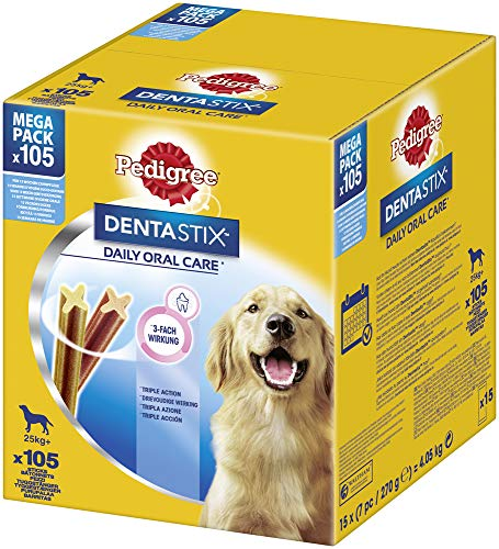 Pedigree Dentastix Hundesnacks für große Hunde über 25kg, 105 Sticks