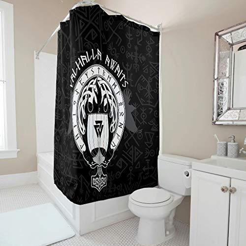 Firelife Wikinger Thors Hammer Duschvorhang Anti-Schimmel Wasserdicht Waschbar Polyester Stoff Duschvorhäng Badewannevorhänge mit Ringe für Badezimmer