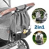 Zamboo Leichte Kinderwagentasche - Universal Beutel/Kinderwagen Organizer mit Befestigungshaken...